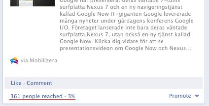 Facebook spridningsfaktor